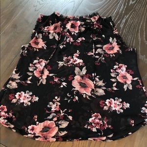 WHBM Black & Pink Floral Top XL